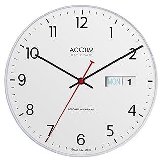 Acctim Datum/Uhrzeit Tag und Datum Wanduhr, weiß