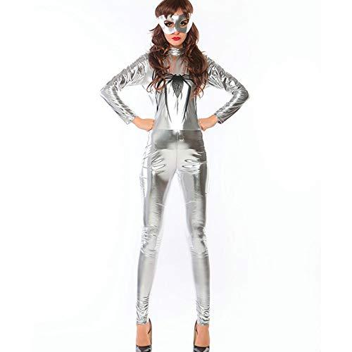 Frauen Halloween Kostüm Damen Sexy Erwachsene Overall Lackleder Silber Spinne Superman Overall (Body Superman Kostüm Für Erwachsene)