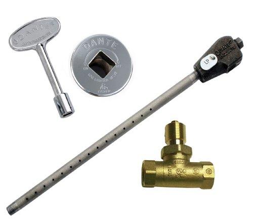 Dante Products LP.BVS.CR Universal-Holzfeuerzeug Kombi-Set mit flüssigem Propan-Brenner. Kugelhahn gerade 1/2 Zoll Vierteldrehung Chrom Bodenplatte und 3 Zoll Schlüssel -