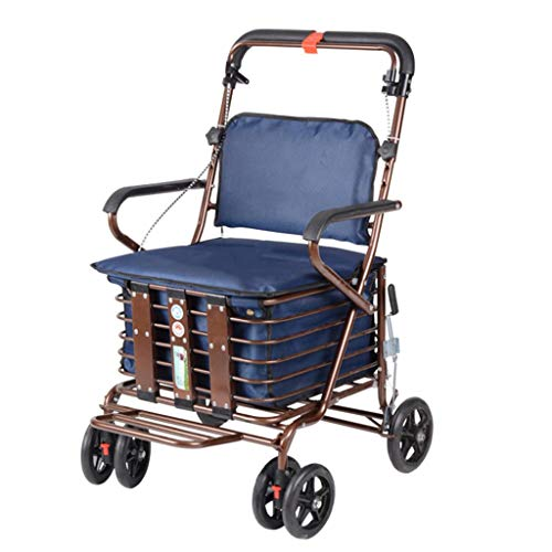 LIU UK Vierrädriger Einkaufswagen für ältere Menschen, EIN Rollator mit Rollsitzen, Sitzrollwagen (Farbe : Dunkelblau)