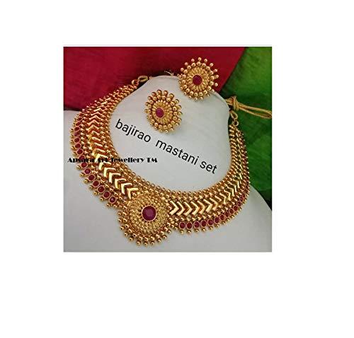 Apsara Art Jewellery Gold Plated kundan Stone Studded Copper Necklace Choker Set for Girls and Womens (Baji Rao Mastani Choker Set)