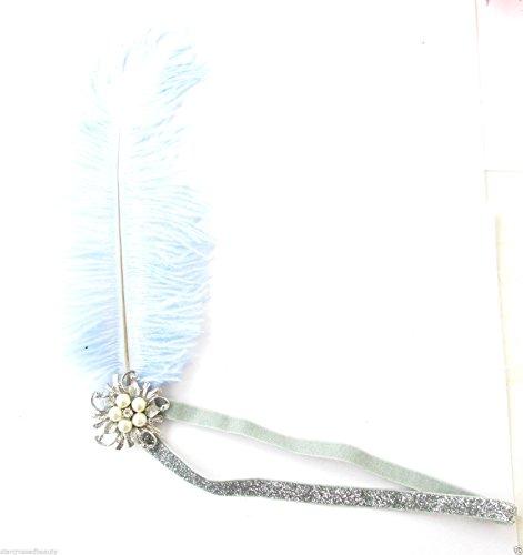 Argent Bleu pâle en plumes d'autruche Flapper Bandeau Bandeau VTG ANNÉES perle L45 * * * * * * * * exclusivement vendu par - Beauté * * * * * * * *
