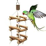 Mysracing Log Pappagallo Giocattolo per Uccelli, Altalena con Scale, Ponte sospeso, Campanello sonoro a Tre Livelli