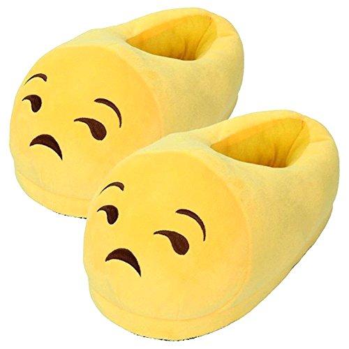 Giocattolo Pantofole Carino Emoji Peluche Slipper Uomini e Donne Winter House Slittata Pantofole in Pantofole di Peluche (Giallo E)