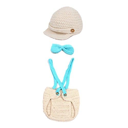 PIXNOR hübsch Bowlnot Style Baby Kleinkinder Neugeborenen Hand gestrickte häkeln Hut Kostüm Baby Fotografie Requisiten Set (blau) -