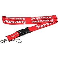 Supreme Lanyard - calzado, doble cara, color rojo Para llaveros, correas de cuello, teléfonos y accesorios.