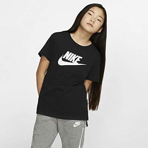 Nike Mädchen G NSW Tee DPTL Basic Futura T-Shirt, Black/(White), M