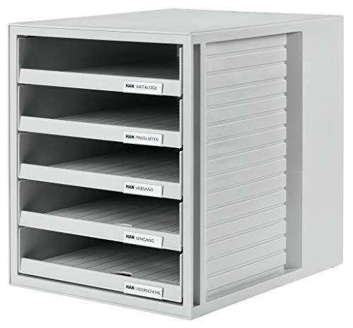 HAN Schubladenbox SCHRANK-SET 1401-11 in Lichtgrau – Ordnungsbox DIN A4 – Aufbewahrungsbox mit Schubladen