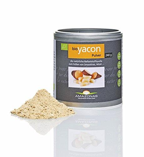 Amazonas Naturprodukte Bio Yacon Pulver Aus Peru, 100 % Naturbelassen, Einzigartiges Präbiotika Für Eine Gesunden Darm, Rohkostqualität, 120 G, 120 g