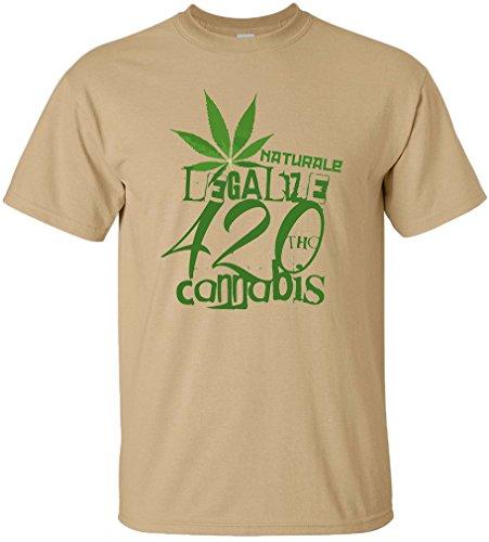 PAPAYANA Herren T-Shirt - LEGALIZE CANNABIS - Naturale 420 REGGAE PEACE, L, khaki (420 Bedruckte T-shirts Weed)