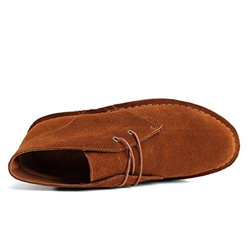 SERENE Mode Herren Wüste Arbeitsschuhe Low Top Arbeitsstiefel für Männer - Glattes Leder oder Wildleder Wildleder rotbraun