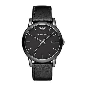 Emporio Armani AR1732 – Reloj (Reloj de Pulsera, Masculino, Acero Inoxidable, Negro, Cuero, Negro)