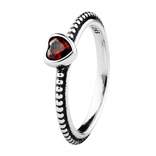 Women Fashion Rings Mid Girl Sterling Silver 925 Crystal Silvery Color Red Siam Heart Sliver Ring With Ruby