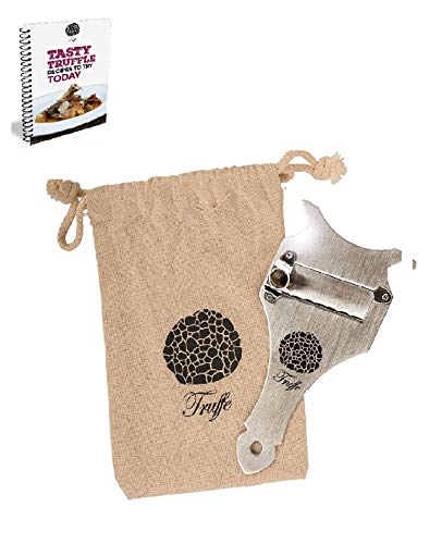 5 grömaße Trüffelhobel & Schokolade Rasierer mit Chic Stoff Tasche + Rezept E-Book. Trim die Heute Trüffel. Auch Rasuren Käse, Knoblauch, Pilzen & Gemüse. Premium Edelstahl & Verstellbarer Klinge (Rezepte Trüffel Schokolade)