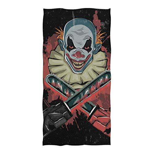 WOCNEMP Strand Sand Decke böse beängstigend Clown Monster Mikrofaser Handtuch für Reisen Schwimmen Camping Yoga Sport 37 x 74 Zoll Handtuch Strand Männer