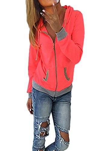 Felpa Donna Felpa Con Cappuccio Con Zip Manica Lunga Con Tasca Elegante Colori Misti Vintage Fashion Casual Autunnale Invernale Sportiva Felpe Giacca Giubbotto Hoodie Rosa