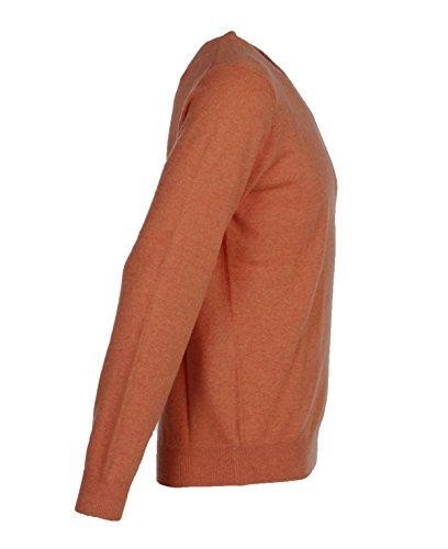 Herren Pullover mit V-Ausschnitt aus reinem Kaschmir Orange