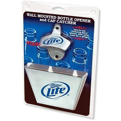 miller-lite-bottle-opener-metal-bottle-cap-catcher-set-by-brown