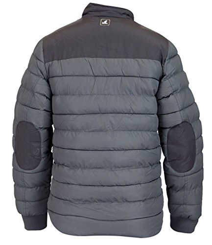 Kangol Mens Padded Jacket Funnel Neck Patches Lined Bubble Puffer Winter Coat Storm Grey