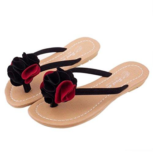 Fulltime®Chaussures plates femmes Bohême chausson fleurissent loisir sandales plage extérieure Rouge