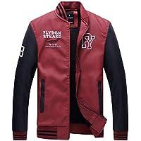 Tosonse Chaqueta De Bombardero Hombres Otoño Invierno Moda Casual Bomber Jacket Mens Stand Collar Faux Leather Coat