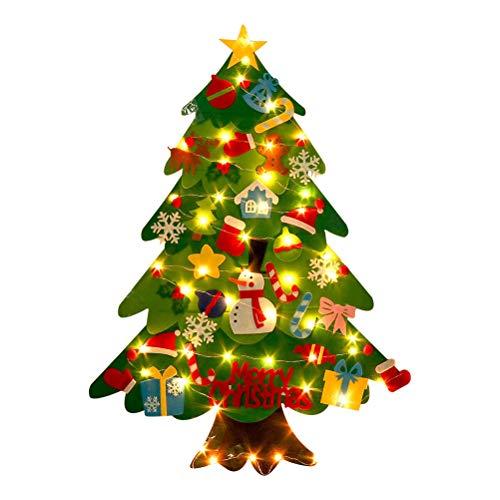 SAMTITY Albero di Natale in Feltro, Albero di Natale Fai-da-Te con con 20 luci a LED 32 Pezzi Ornamenti Staccabili per Bambini Regali di Natale Decorazione della Parete della Porta di cas