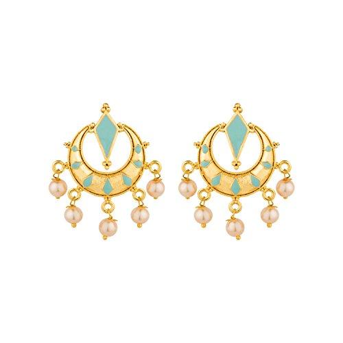 Voylla Mint Green Enamelled Chandbali Earrings For Women