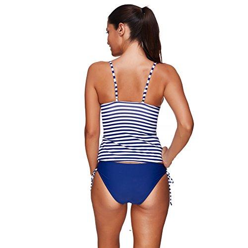 Lover-Beauty Damen Bikini 50s Retro Zweiteiler Wireless Bademode mit gepolsterten Sommer Schwimmen Kostüm Tankini Set Badeanzug Blau