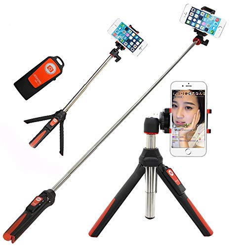 d 3 in 1 Selbstporträt Ausziehbarer Selfie-Stick Mini-Tasche Kabelloses Bluetooth 360 ° -Drehung für 3,5-6-Zoll Smartphone Geeignet für Vlog Daily Shooting Xs / x / 8 7 Plus,Red ()