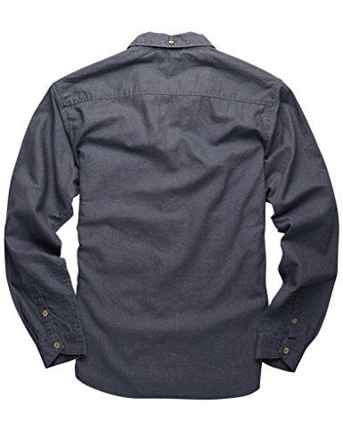 Match Herren Slim Fit Langarm Hemd Leinen Freizeit #2011 2011 Grau