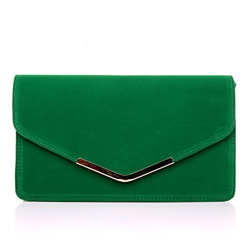 lucky-india-green-suede-medium-size-clutch-bag