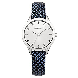 Karen Millen Women's Quartz Watch with Silver Dial Analogue Display and Blue Leather Strap KM127U