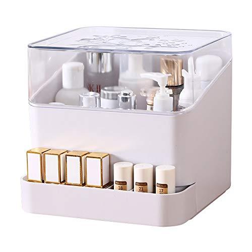 ZYYR Contenitore Cosmetico Anti-Polvere Desktop Rossetto Maschera Gioielli Cremagliera Trucco Organizzatore Piccoli Oggetti/Cura della Pelle Container Sundries (Color : White)