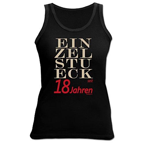 Cooles Tank Top zum 18.Geburtstag / Damenshirt : Einzelstück 18 Jahre - Geschenk 18 Jahre Mädchen Farbe: schwarz Schwarz