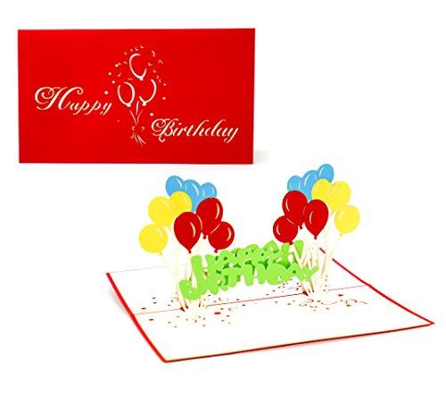 3D Klappkarte, handgearbeitete Grußkarte, Glückwunschkarte zum Geburtstag, inklusive Umschlag und Schutzfolie (Happy Birthday - Ballons)