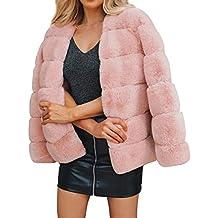 d2a29569fdff Aceshin Damen Felljacke Schwarz Mantel Winter Jacke Plüschjacke Warm Faux  Pelzmantel Outwear Kurz Coat