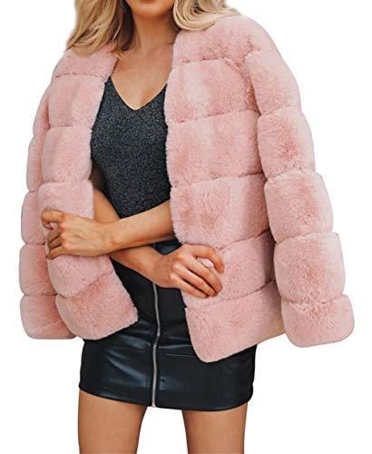 Aceshin Damen Felljacke Schwarz Mantel Winter Jacke Plüschjacke Warm Faux Pelzmantel Outwear Kurz Coat