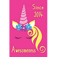 Awesomeness Since 2014: Blonde hair unicorn themed journal for girls who were born in the year 2014, compact handy size notebook with 1/2 blank and 1/2 wide ruled pages for writing.