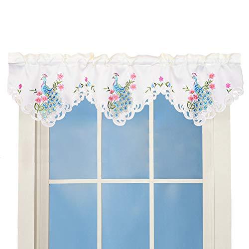 Simhomsen Stickerei Pfau Vorhang Volant für Küche Fenster Frühling und Sommer Dekorationen B 147,3 cm x L 40,6 cm (Fenster Frühling Volant)