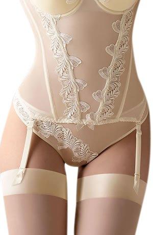 - largeur Crème Corset élégant avec détails brodés sur la poitrine et la taille d'un centre Buste Broche avec