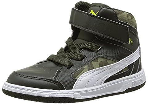 Puma Rebound V2 Hi Camo V Kids, Baskets mode mixte bébé - Vert (Night/White/Olive/Spring), 20 EU (4 UK)