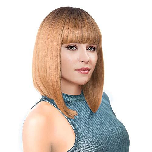 Kalyss Kurz Ombre Honigblond2 Töne Schwarz zu Blond Bob Perücken mit Hair Pony Hitzebeständig Yaki Synthetik Gerade Vollkopfhaarersatzperücke für Frauen, Natürlich und Mode suchen -