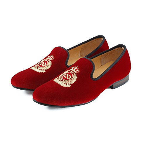 Journey West Herren Vintage Schuhe Samt Slipper Herren Stickerei Noble Herren Schuhe-Slipper Smoking Slipper Mokassins Herren Schuhe Loafers Herren Rot Kaiserkrone