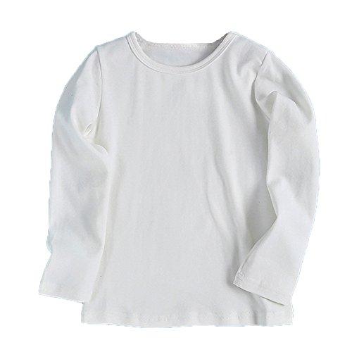 Kinderkleid Honestyi Baby Nette Jungen Mädchen Runder Kragen Lange Hülsen Oberseiten Süßigkeits Clour Familien Kleidung (Weiß,100)