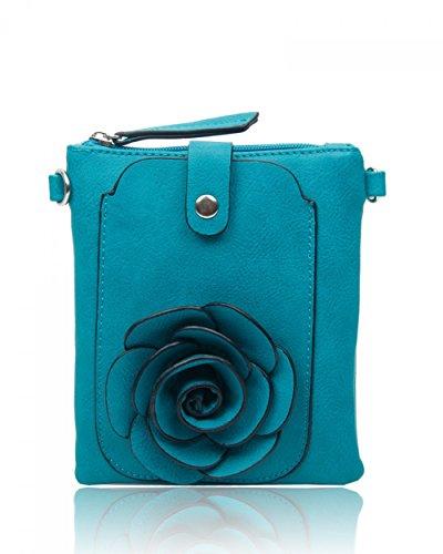 LeahWard® MINI Größe!!! Damen Mode Essener Blume Umhängetasche Qualität Kunstleder Bote Party Tasche Handtasche CWF003 CWF5348 Turquoise