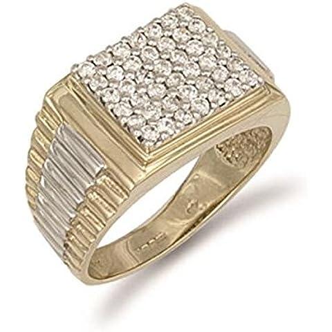 Hallmarked 9ct oro amarillo tapa cuadrada anillo de Zirconia cúbico de caballero