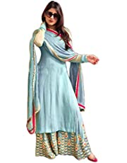Art- FASHION Cotton Turquoise Salwar Suit with plazzo Latest Floral Emabroidery work with Dupatta (Sky Blue)