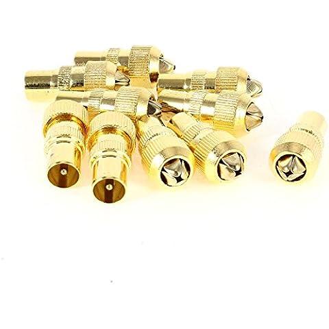 10 piezas antena de RF TELEVISIÓN POR Cable TV FM Cable Coaxial PAL Conector Macho Adaptador De