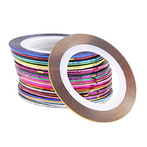 0 Colors Rolls Striping Tape Line Nail Art Decoration Sticker Tips DIY Nail Tool for Girls Ladies ()