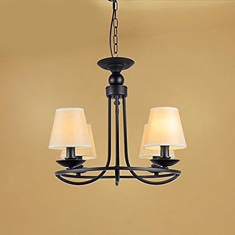 LKMNJ Style européen Industrial Air Sépia le lustre Lustre Accueil Le Village d'Art de fer d'éclairage Lampe verre,4Tête La Source de